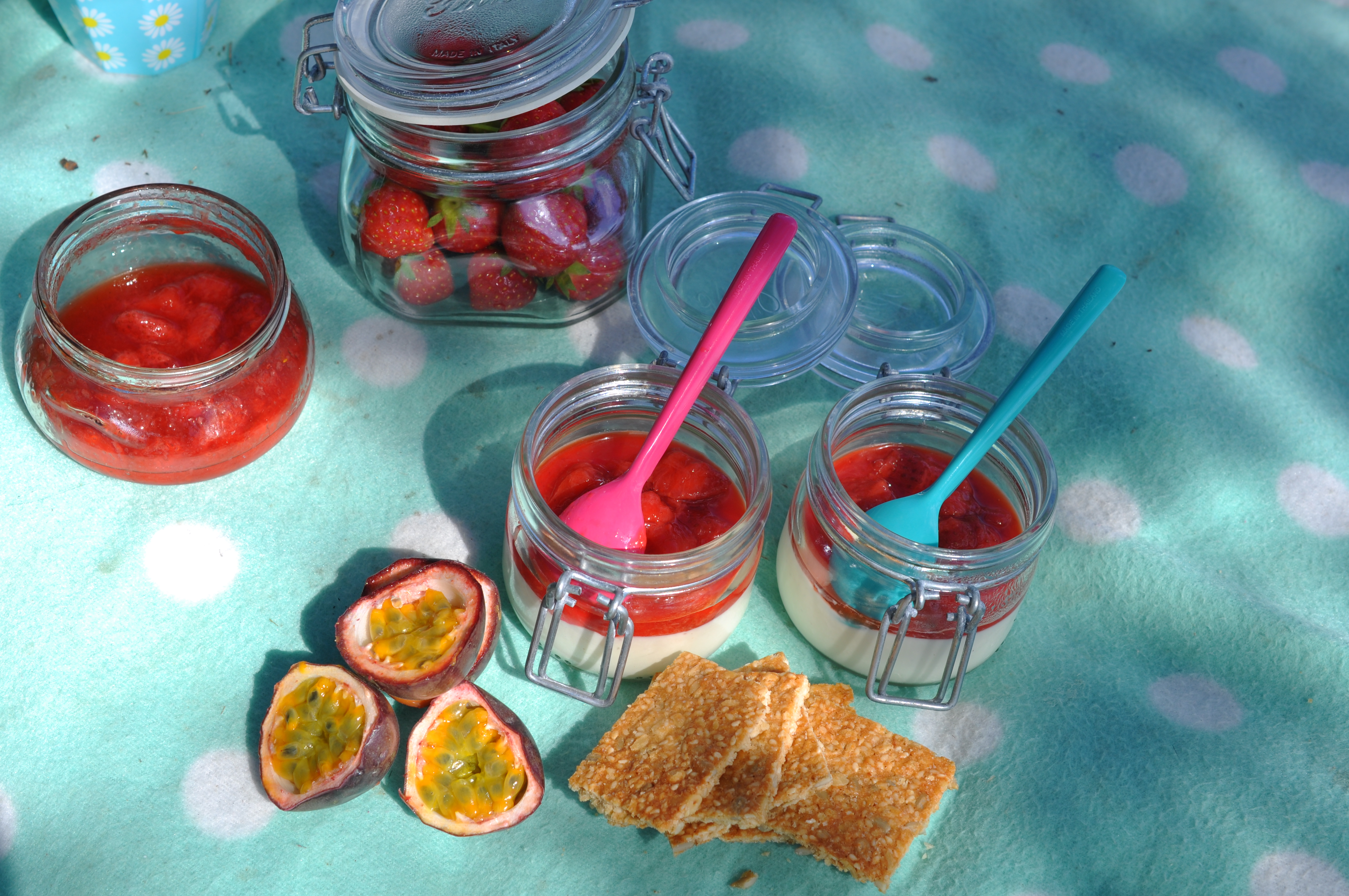 pannacotta med jordgubbssalsa