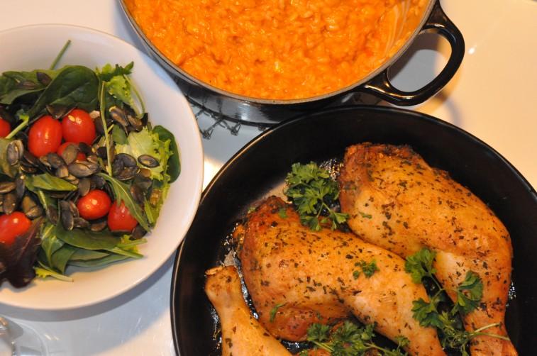 Tomatrisotto ICA grill kyckling med ingefära och persilja