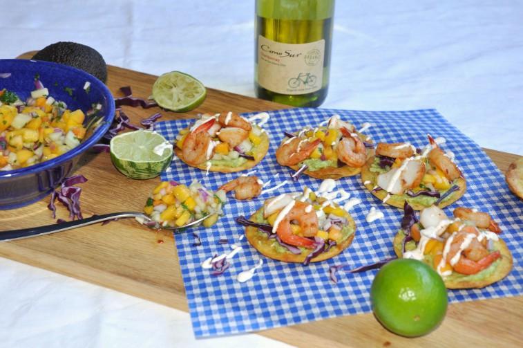 tostadas räkor fisk cono sur