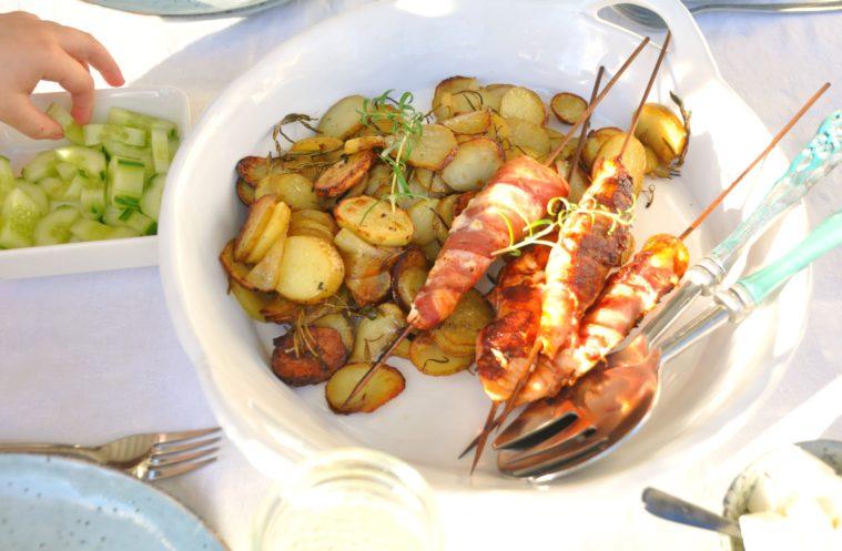 Baconlindade laxspett ugnsrostad potatis 2