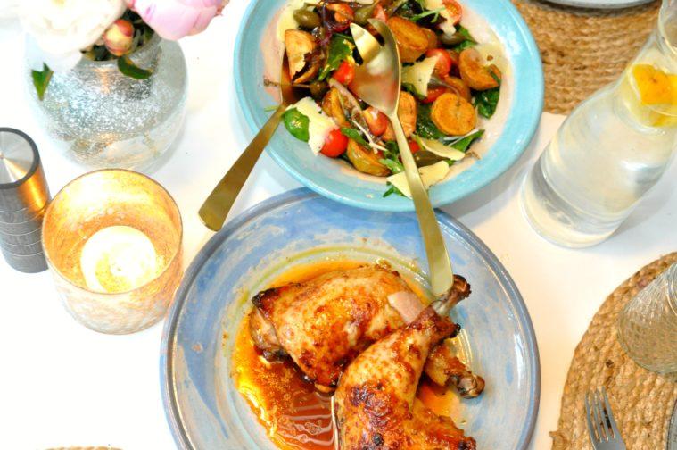 Rostad potatissallad marinerad kyckling