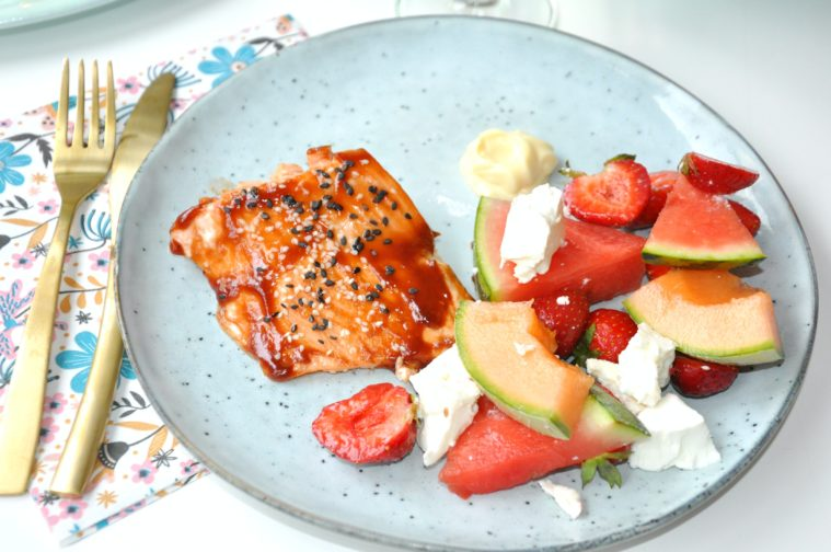 Salma lax fruktsallad feta glaze aioli melon