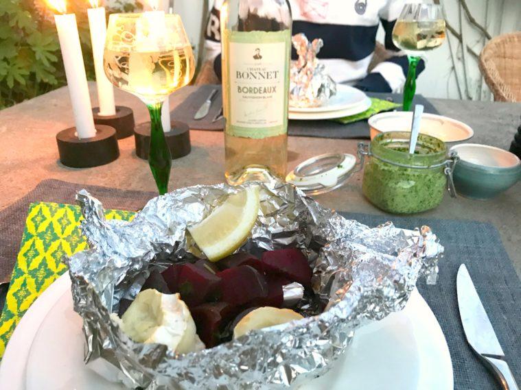 Rödbetor och chevre sauvignon blanc Bonnet
