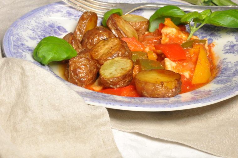 Kyckling- och paprikagryta med Melting potatoes