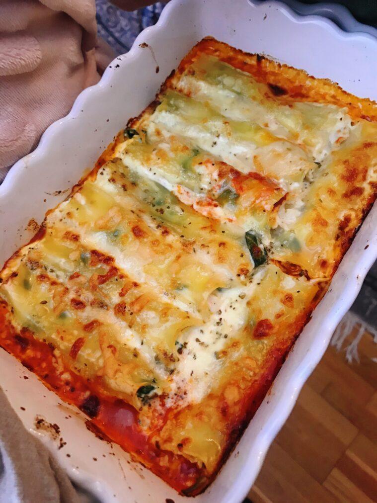 cannelloni med spenat, ricotta, kyckling